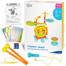 Toonit Jamz Keyboard Drum set Musical Play set Drum Sticks Microphone Cards Batteries Included