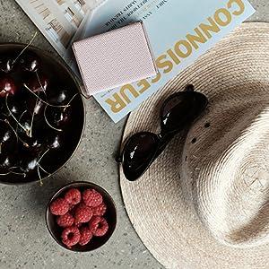 magazine, hat, sunglasses, fruit, speaker, lifestyle, photo