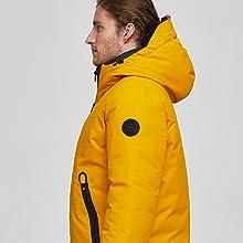 puffer coat down jacket for men yellow waterproof snowjacket