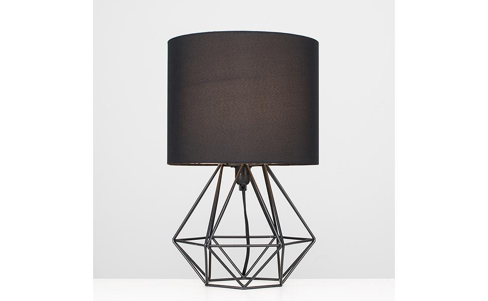 MiniSun - Moderna Lámpara de Mesa Negra – Innovadora Base de Estilo Jaula - Pantalla Negra - Iluminación Interior: Amazon.es: Iluminación