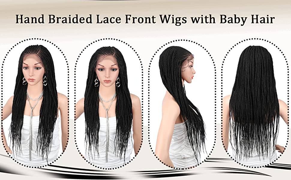 Lace Front Braided Wig cornrow braided wigs box braids lemonade tribal braids Micro Twists