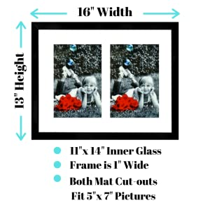 """collage picture frame black or white with two cut outs mat for 5x7"""" pictures family kids school art"""