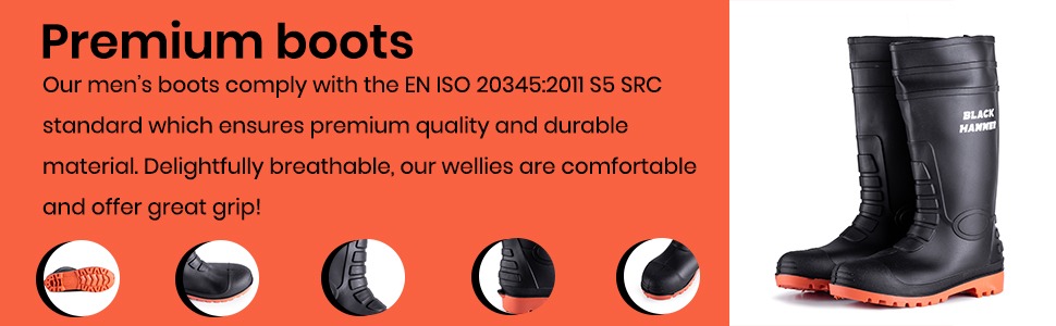 Premium wellies that will protection you any sitiuation with steel toe caps and steel midsole