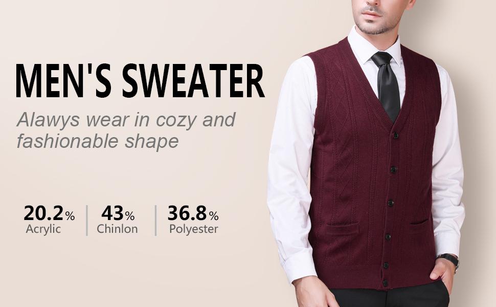 Aibrou Mens V-Neck Argyle Sweater Vest Sleeveless Knit Pullover Knitwear