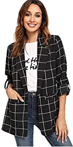 Milumia Women's Open Front Roll Up Sleeve Jacket