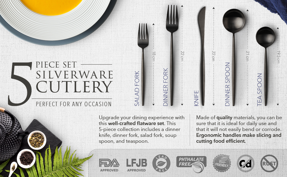 dining crafted flatware gift 5-piece collection quality ideal not bend corrodeErgonomic handles