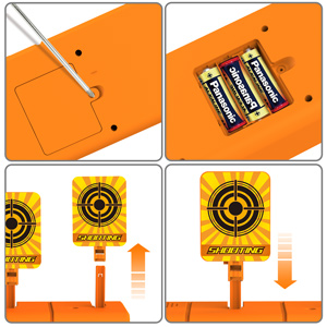 Install batteries and assemble the electronic shooting target