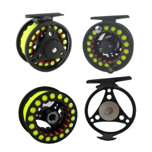 wild water fly fishing, 3/4 fly rod, 3 wt, 3 weight, 4 wt, 4 weight, 75mm die cast aluminum reel