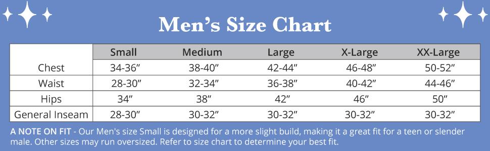 pjs for men size chart