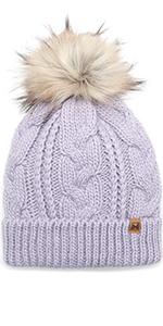 MIRMARU Women's Soft Faux Fur Pom Pom Slouchy Beanie Hat with Sherpa Lined- Thick, Soft, Chunky Warm