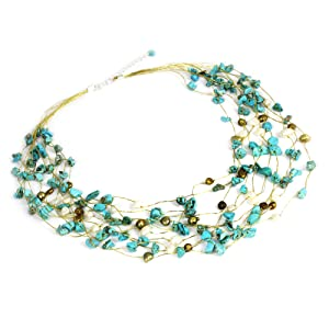 NOVICA Cultured Pearl and Magnesite Multi-strand Necklace, Handmade Jewelry, Blue Pearls, For Women