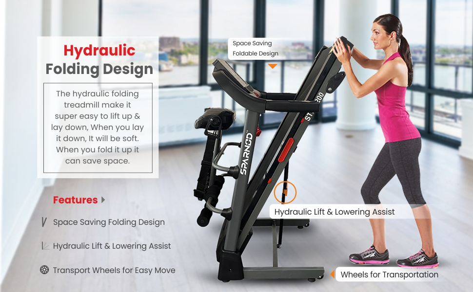 Sparnod Fitness STH-2200 (4 HP Peak) Automatic Multifunction Foldable Treadmill –for Home Use
