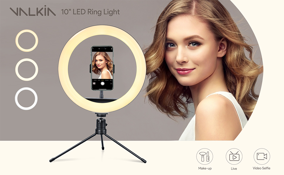 ring light selfie led ring light with tripod stand & phone holder for iphone cell phone halo light