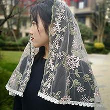 FANFAN Veil Church Infinity Mantilla Veil Scarf Wrap Mass Head Covering Shawls Y061