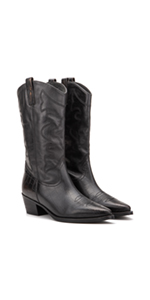 Vintage Foundry Co. Trudy Women's Western Black Leather Studded Ankle Boots