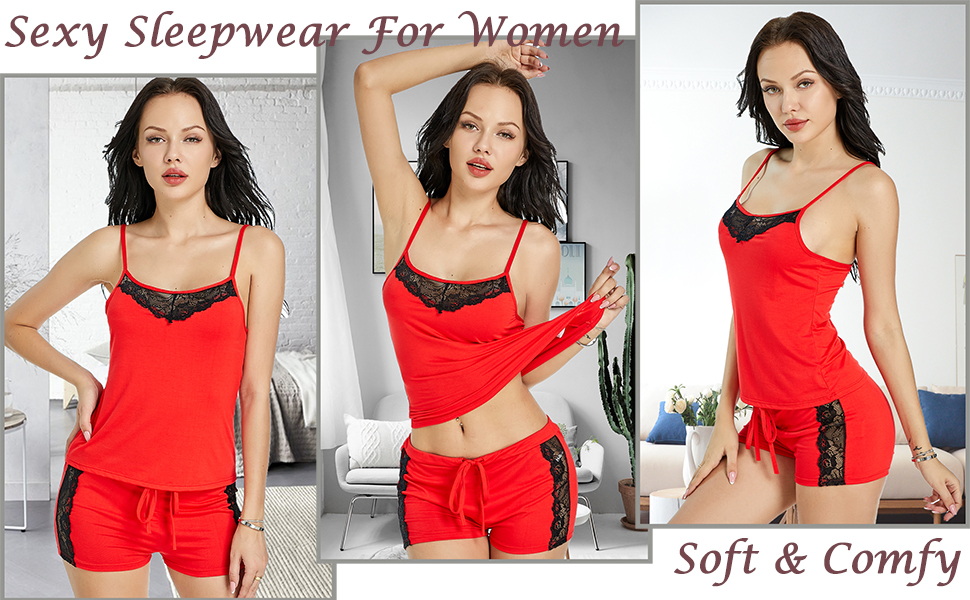 Snuggle up with your sweetie in this sexy pajamas set. Women's lace pajama shorts set matching