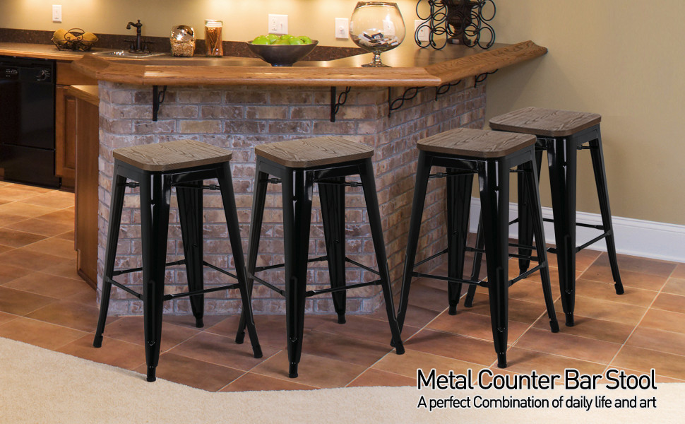 """26"""" Metal barstools with wood top"""