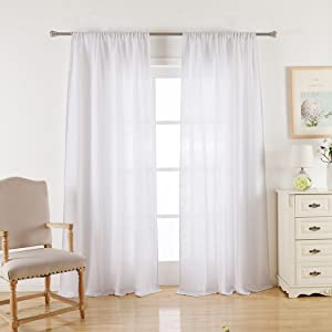 white burlap curtains