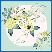 foulard petit carré cou sac cheveux enfant plissé cou pour offrir fleur soie sauvage vert turquoise
