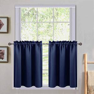 navy blue short curtain