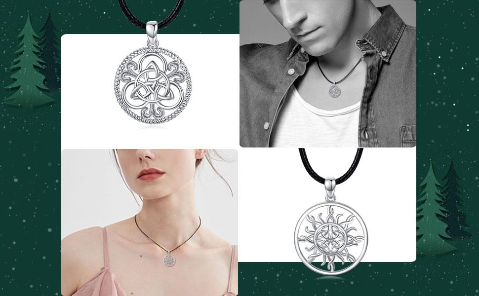 Silber Keltisch Knoten Edelstahl Anhänger Braun Leder Halsketten Damen Heren
