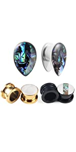 6017 3 Pairs Ear Tunnels Plugs Gauges Inlaid Shell Ears Piercing Jewelry 1