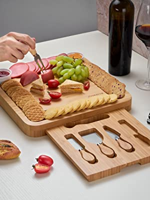 cheese board set wine and meat