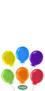 6 large balloon shaped lollipops