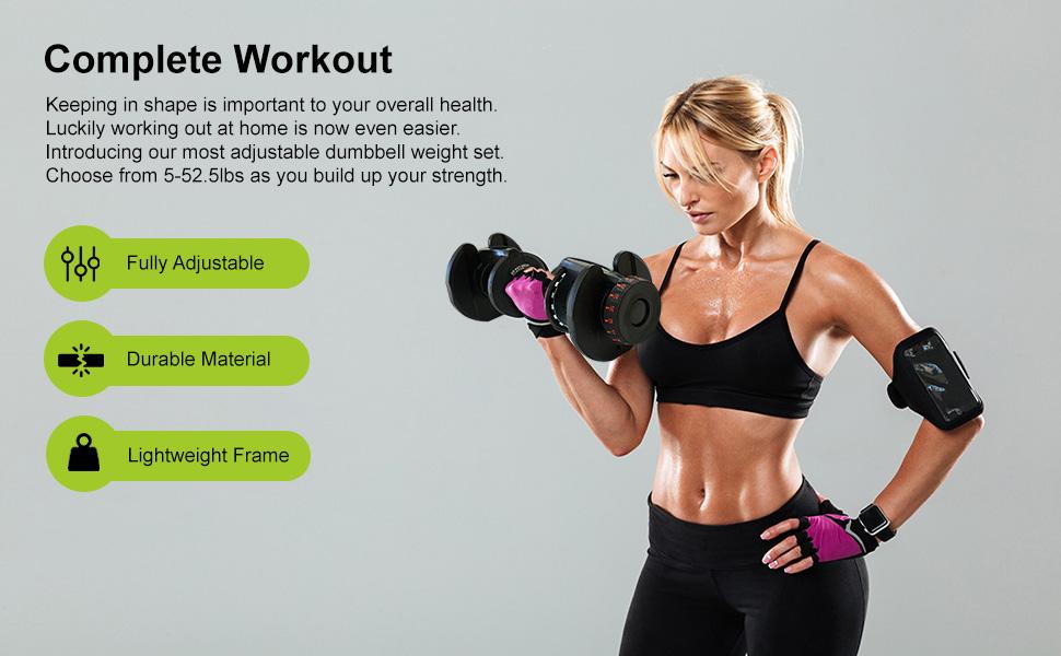 Weight Adjustable Dumbbells 5-52.5lbs