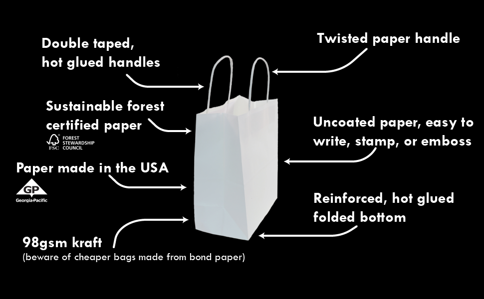 PI11023 white paper bag technical specifications 98gsm kraft FSC certified super strong bag