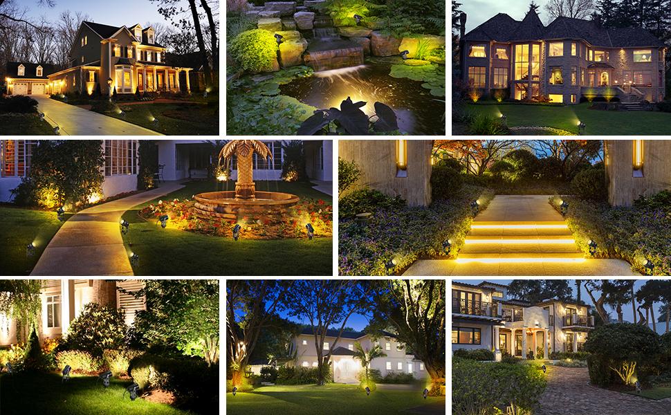 Iluminación de jardín B-derecha luz de jardín con punta de tierra, juego de 6 reflector de jardín de 3 W con enchufe,uz de jardín Luz de jardín con cable,proyector de césped IP65