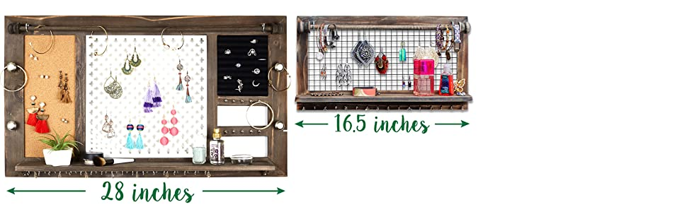 Large Rustic Jewelry Organizer from SoCal Buttercup Necklace Bracelet Ring Holder Display