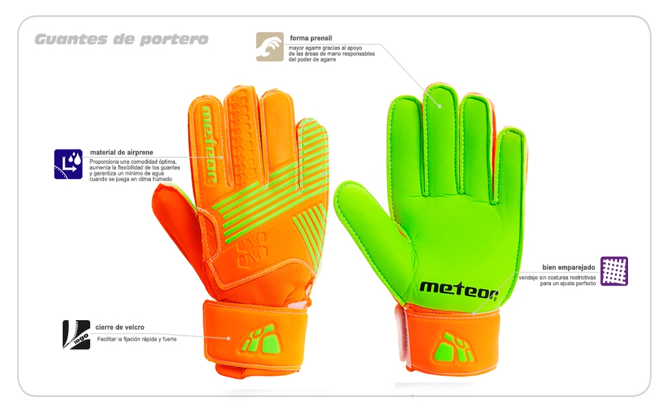 Guantes de Portero ni/ños meteor Guantes Portero Goalkeeper Gloves Guentes de Portero Ni/ño Entrenamiento Futbol Equipacion f/útbol ni/ños protecci/ón para los Dedos X3