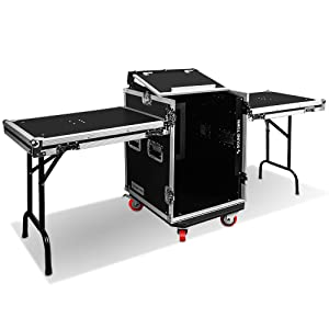 Sound Town 14U PA/DJ Road/Rack Case with Slant Mixer Top, Casters and 2 Side Work Tables STMR-14UWT2