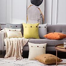 farmhouse linen burlap pillows grey gray with vintage buttons