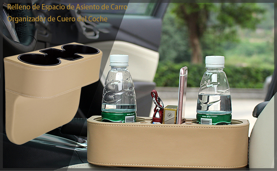Beige Llaves con 4pcs Ganchos Asiento IYOYI Cuero Portavasos de Coche Organizador de Espacios de Asientos con Soporte para Tel/éfono M/óvil Monedas