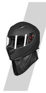ILM Full Face Motorcycle Street Bike Helmet with Removable Winter Neck Scarf 2 Visors DOT