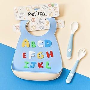 Beige F/ür Babys ab 6 Monaten mit Auffangkorb M/ädchen oder Jungen leicht zu waschen mit Wal L/öffel und Gabel als Geschenk! Marqvs Baby-L/ätzchen wasserdicht BPA-frei flexibel