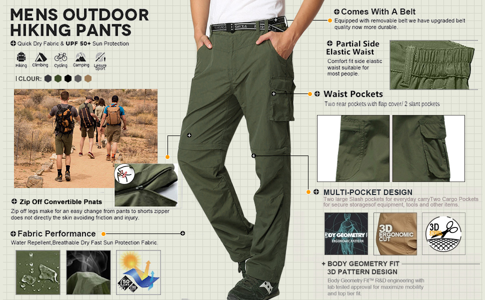 Mens Outdoor Quick Dry Convertible Lightweight Hiking Fishing Zip Off Cargo Work Pants Trousers