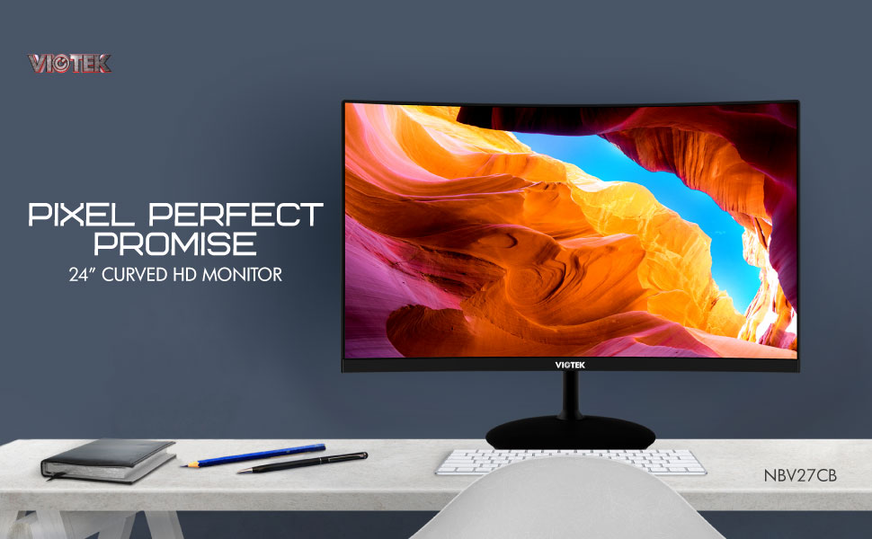 VIOTEK NBV24CB 24-Inch Curved Monitor with 1500R Curvature and Enhanced 75Hz Refresh Rate