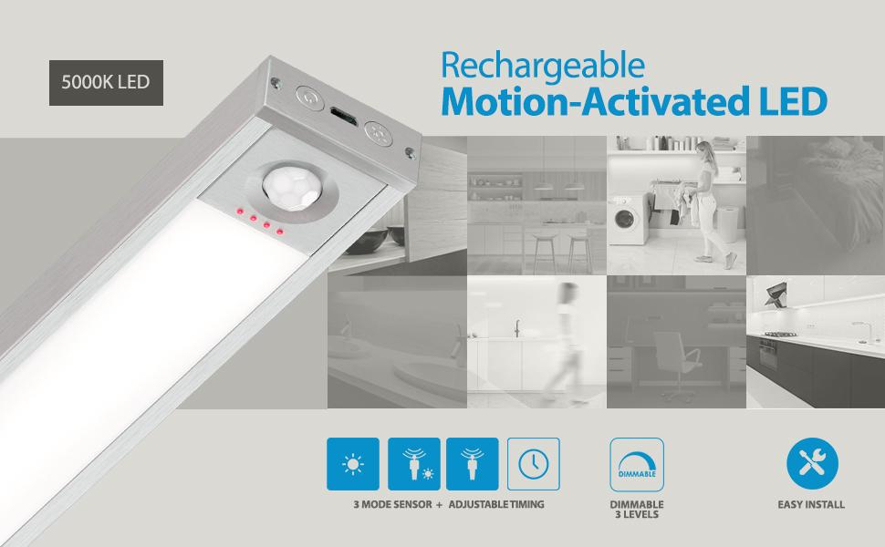 environ 60.96 cm trois niveau gradateur Rechargeable Motion DEL lumière Eshine 24 in 5000K 4 Modes
