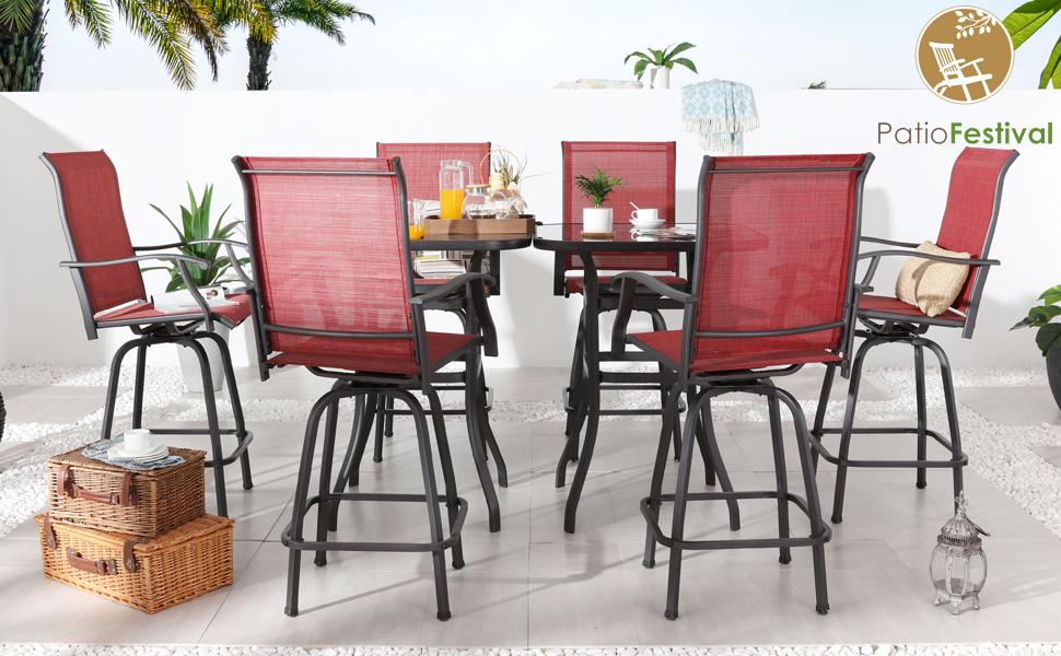 patio bar set outdoor swivel bar stools