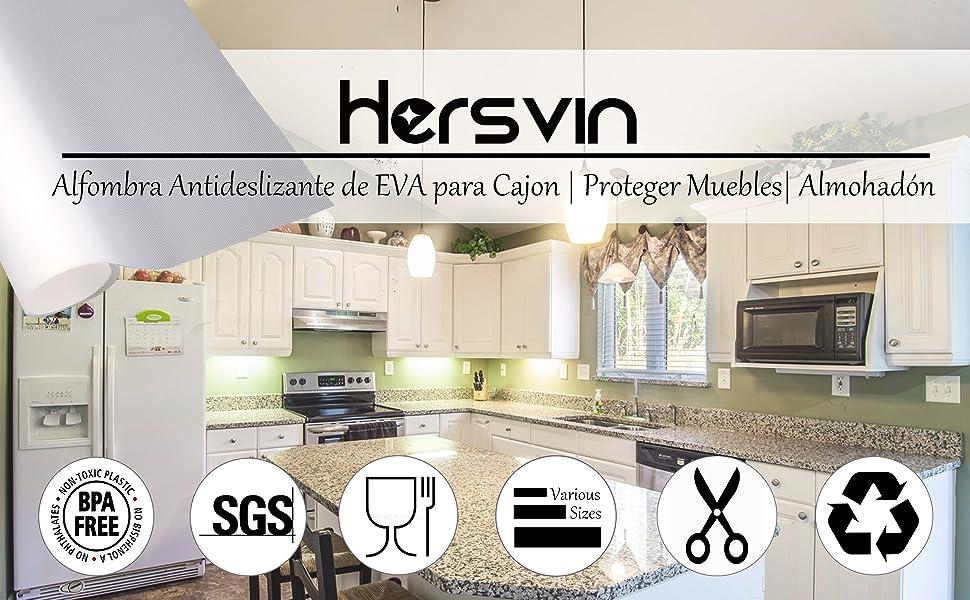 Hersvin 45cmx500cm Plastico Protector para Cocina Cajones, Alfombras Antideslizante Non Adhesivo para Nevera Mueble Fregadero Estante Organizador Cubiertos EVA Cubre Encimera(Transparente Diamante): Amazon.es: Hogar