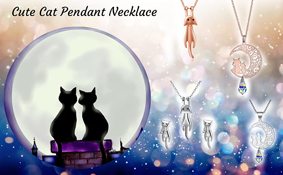 ladies cat christmas jewelry presents for lovers kitty necklace necklace and earrings jewelry set