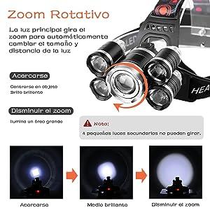 Arzopa Linterna Frontal Recargable LED Alta Potencia 10000 Lúmenes ...