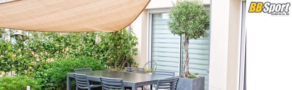 BB Sport Tenda Velo Sole 3m x 3m x 4.24m Cappuccino Triangolare Vela Sole Ombreggiante 100/% PES Protezione Solare UV 30 Parasole Giardino Esterni