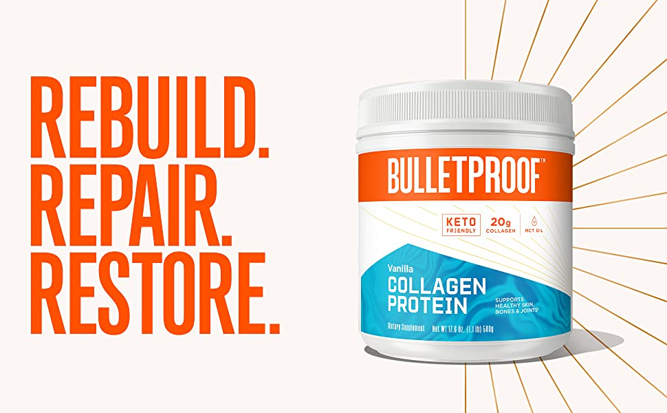 repair muscles, recovery, restore joints, vanilla collagen protein peptides, grass fed bovine, keto