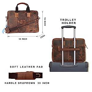PICCO MASSIMO Leather Laptop Bag