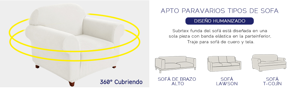 subrtex 1 Pieza Funda de Sofá Poliéster Elástica Cubierta de Asiento Forro de Sofá Doméstico (1Plaza, Blanco)