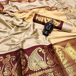 Beige Aura Silk Saree